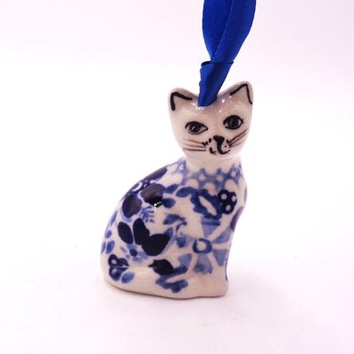 Indigo Garden Cat Ornament
