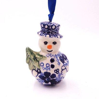 Indigo Garden Snowman Ornament