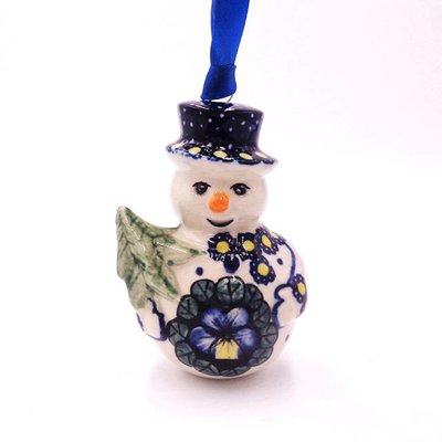 Pansies Snowman Ornament