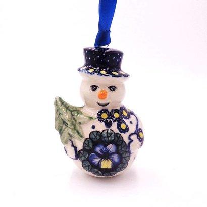 Pansies Snowman Ornament