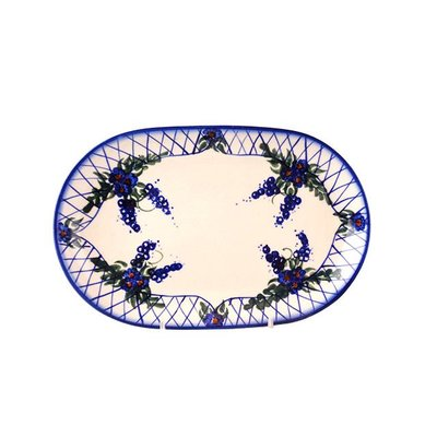 Lattice in Blue Oval Dish 24