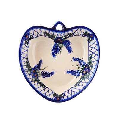 Lattice in Blue Heart Bowl - Sm