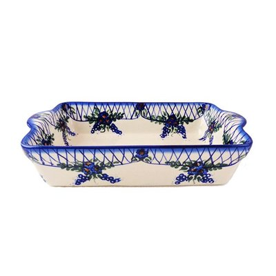 Lattice in Blue Rectangular Baker - Sm