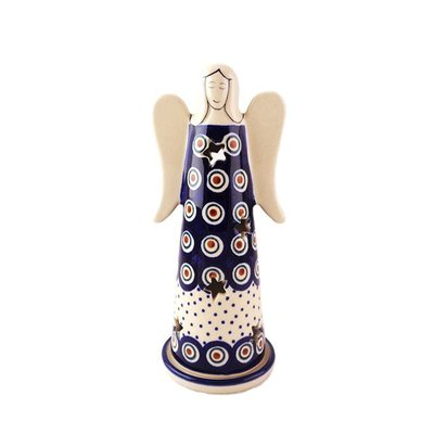 Dotted Peacock Illuminated Angel - Lrg