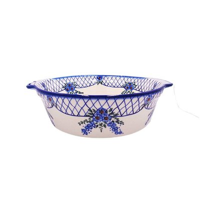 Lattice in Blue Deep Round Baker