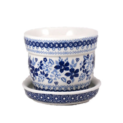 Indigo Garden Flower Pot w/ Saucer - Sm