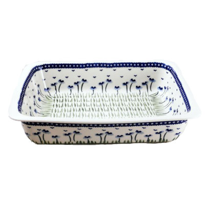 Blue Poppies Deep Rectangular Baker