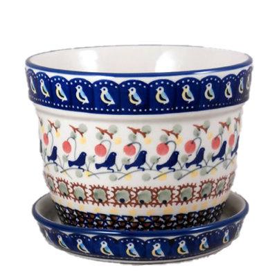 Blue Bird Flower Pot w/ Saucer - Lrg