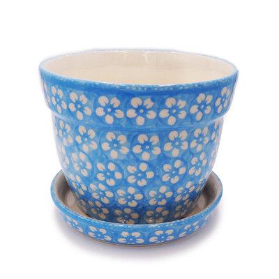 Turquoise Blossom Flower Pot w/ Saucer - Lrg