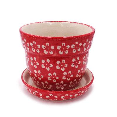 Scarlet Blossom Flower Pot w/ Saucer - Sm