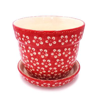 Scarlet Blossom Flower Pot w/Saucer - Lrg