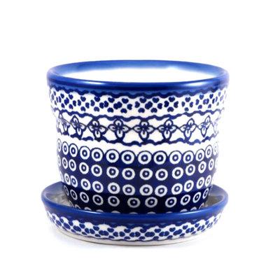 Diamond Lattice Flower Pot w/ Saucer - Sm