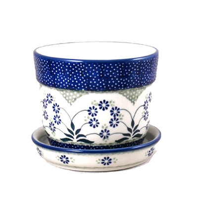 Forget Me Nots Flower Pot w/ Saucer - Sm
