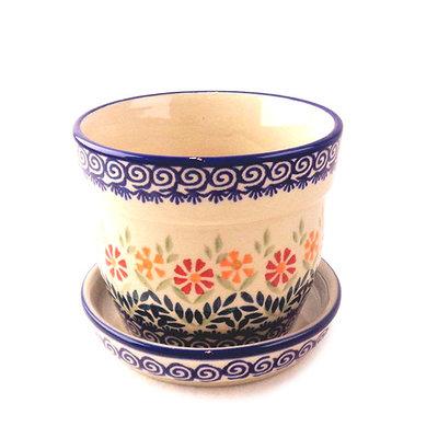 Marigolds Flower Pot w/ Saucer - Sm