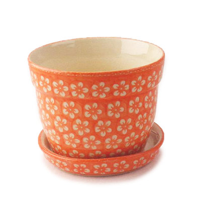 Orange Blossom Flower Pot w/ Saucer - Lrg