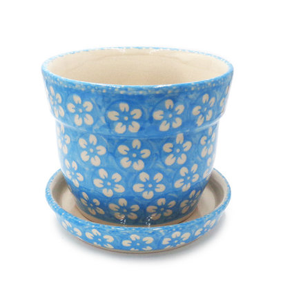 Turquoise Blossom Flower Pot w/ Saucer - Sm