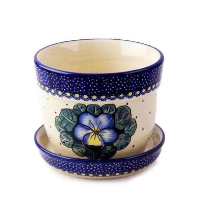 Pansies Flower Pot w/ Saucer - Sm