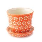 Orange Blossom Flower Pot w/ Saucer - Sm