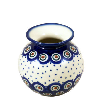 Dotted Peacock Round Vase