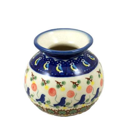 Blue Bird Round Vase