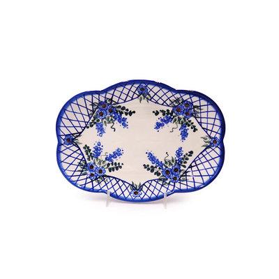 Lattice in Blue Cloud Dish 24
