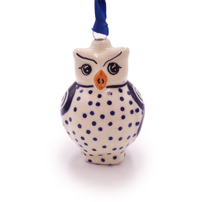 Dotted Peacock Owl ornament by Manufaktura Polish Pottery