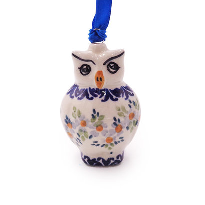 Wisteria Owl ornament by Manufaktura Polish Pottery
