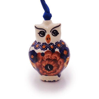 Harvest Basket Owl ornament by Manufaktura Polish Pottery
