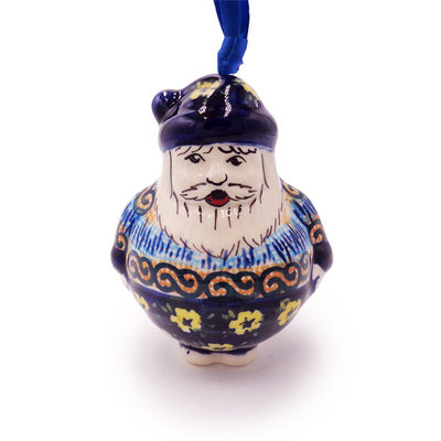 Midnight Daisy Santa Ornament