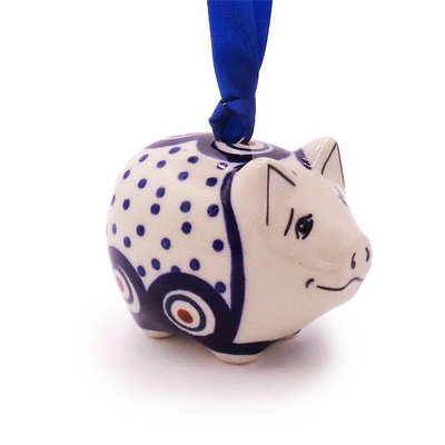 Dotted Peacock Piggy Ornament