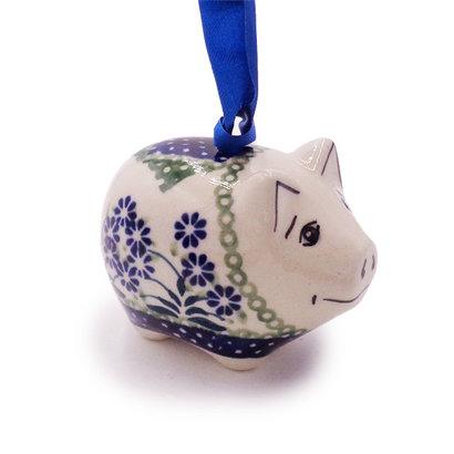 Forget Me Nots Piggy Ornament