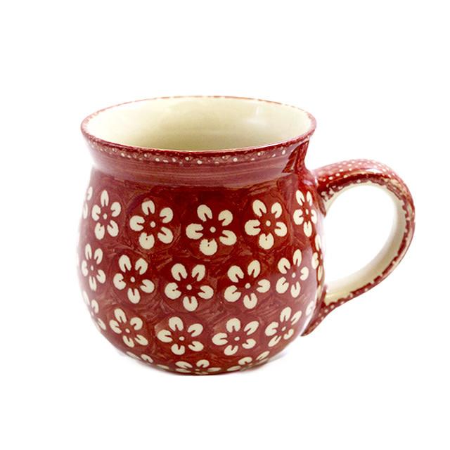 Polish Pottery Bubble Mug Scarlet Blossom Large Bubble