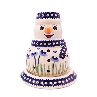 Blue Poppies Illuminated Snowman
