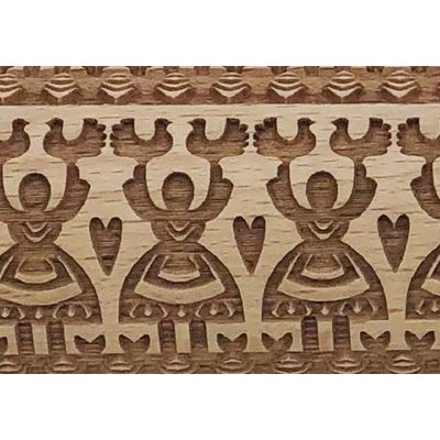 Folk Dance Embossed Rolling Pin 4 1/2""