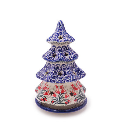 Crimson Bells Christmas Tree Luminary 8""