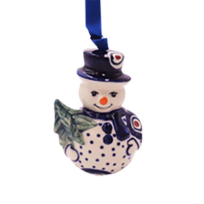 Dotted Peacock Snowman Ornament
