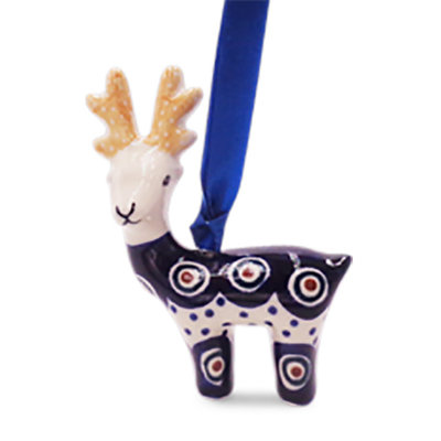 Dotted Peacock Reindeer Ornament