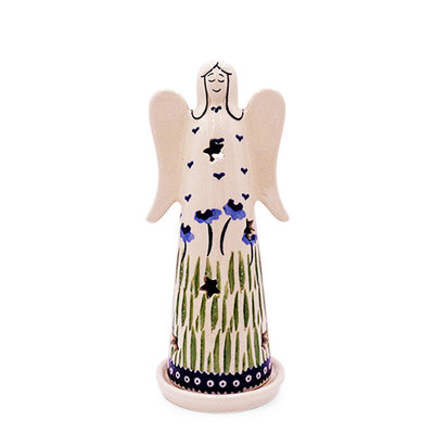 Blue Poppies Illuminated Angel - Lrg