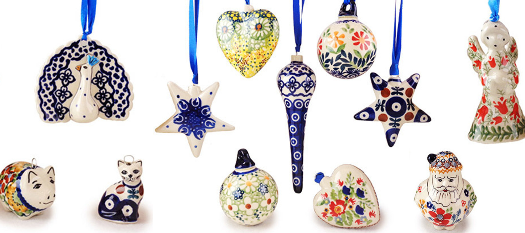 Polish Pottery Christmas Ornaments