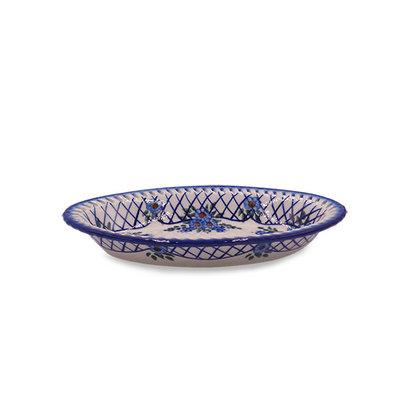 Lattice in Blue Oval Fruit Bowl - Sm