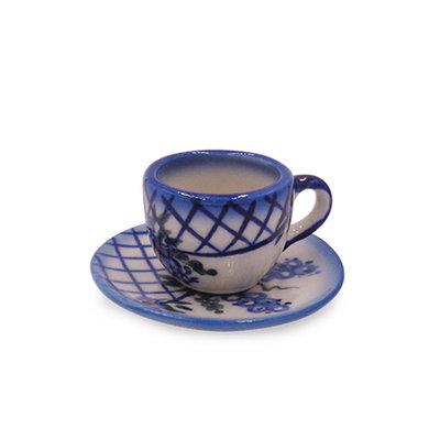 Lattice in Blue Mini Cup & Saucer