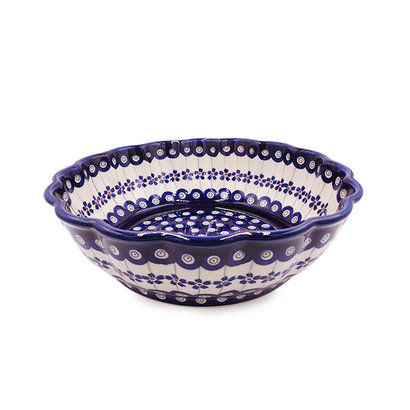 Floral Peacock Shallow Serving Bowl