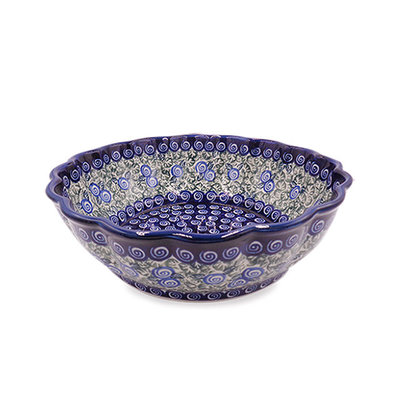 Blue Swirl Shallow Serving Bowl