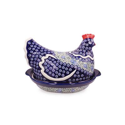 Blue Swirl Hen on a Nest