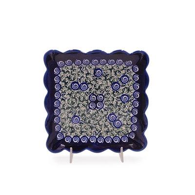 Blue Swirl Ruffled Dessert Plate
