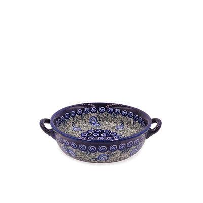 Blue Swirl Round Baker with Handles - Sm