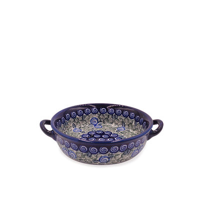 Blue Swirl Round Baker with Handles - Sm