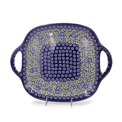 Blue Swirl Square Tray with Handles