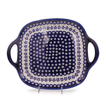 Floral Peacock Square Tray with Handles