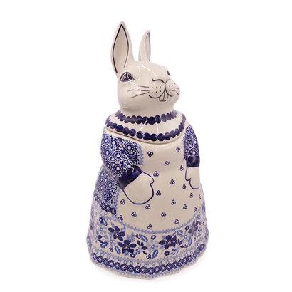 Indigo Garden Bunny Jar